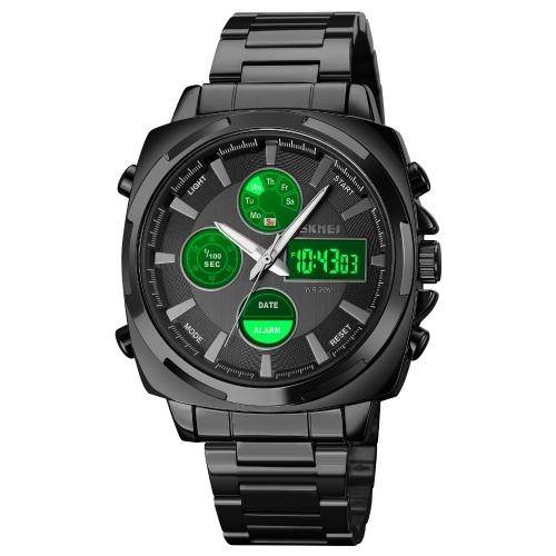 SKMEI 1673 Quartz Digital Electronic Men Watch Stylish Multifunction Dual-display Wristwatch 30M Waterproof Business Casual Watch Stopwatch/LED Luminous/Alarm/Date/Week/Hourly Chime