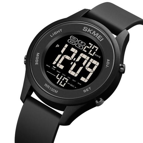 SKMEI 1758 Multifunction Sport Digital Watch Minimalist Unisex Wristwatch 100M Waterproof Outdoor Chronograph Watch with Stopwatch/Date/Week/Alarm/EL Light/Hourly Chime for Men Women Teenager Students