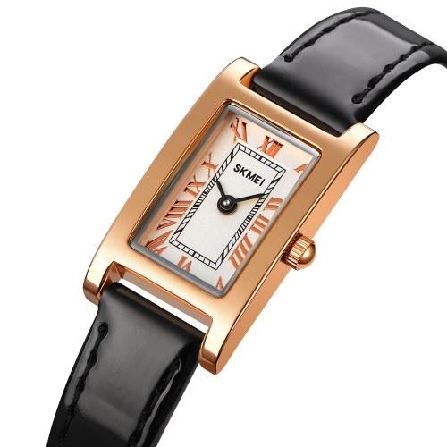 SKMEI 1783 Stylish Elegant Women Quartz Watch Retro Roman Numeral Ladies Analog Wrist Watch with Leather Strap Simple 30M Waterproof Casual Business Wristband