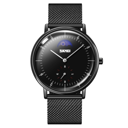 SKMEI 9245 Stylish Men Dress Watch with Large Moon Phase Display Minimalist Analog Quartz Wristwatch Waterproof Business Casual Watch for Men