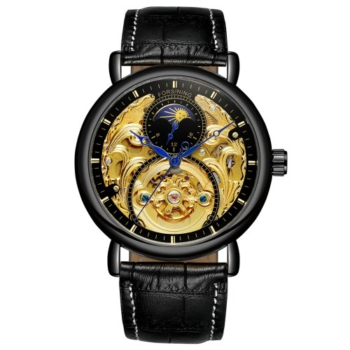 Leather Band Men's Mechanical Watch 3ATM Casual Business Wristwatch Gift