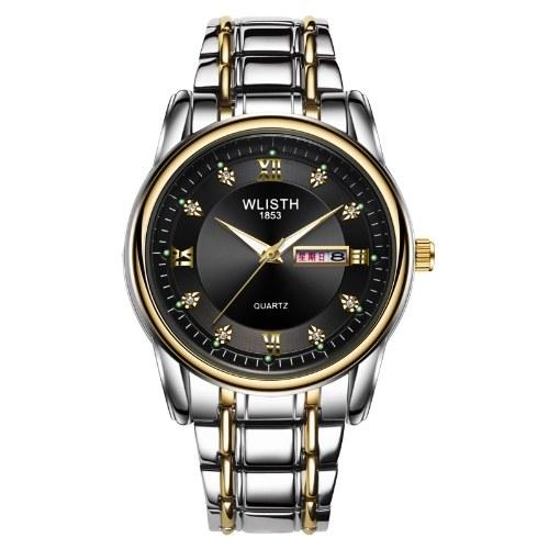 WLISTH S506 Multifunctional Men Wrist Watch with Luminous/Dual-calendar Display Stylish Elegant Business Casual Watch 30M Waterproof Analog Quartz Watch with Steel Strap
