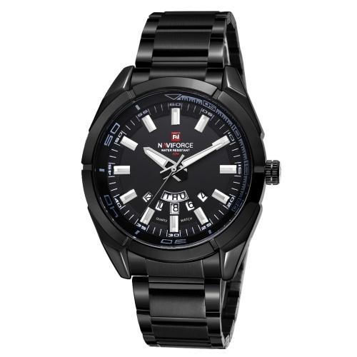 NAVIFORCE NF9038 Stylish Casual Men Quartz Watch Multifunctional 30M Waterproof Full Steel Wrist Watch with Luminous/Auto Date/Week Display