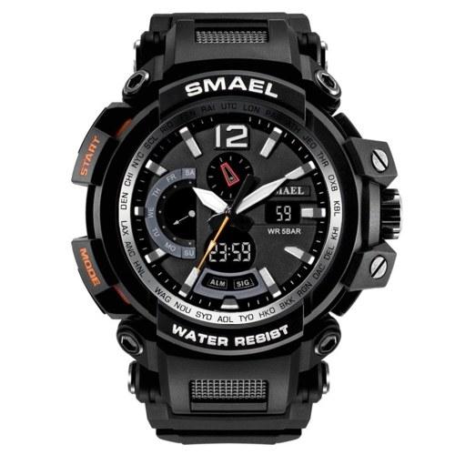 SMAEL 1702 Fashionable Men Quartz Digital Wristwatch Multifunctional Sport Watch with 50M Waterproof/Luminous/Alarm/Stopwatch/Week/Date