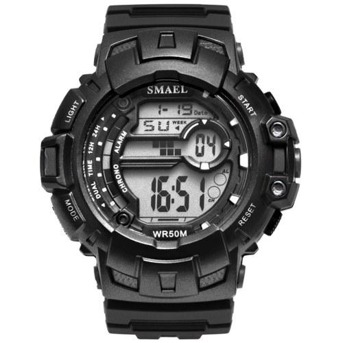 SMAEL 1532A Multifunctional Digital Electronic Watch for Men Women Large Dial Fashionable Unisex Wrist Watch with 50M Waterproof/Luminous/Alarm/Week/Date Display
