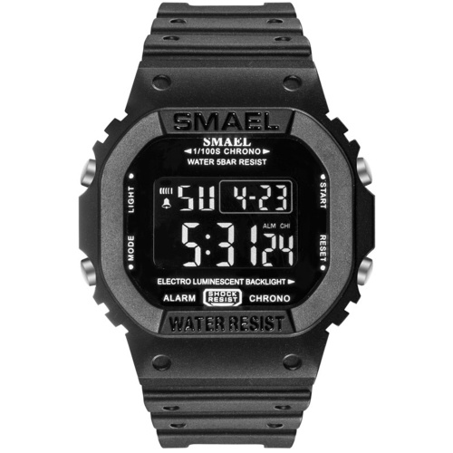 SMAEL 1801 Multifunctional Outdoor Sport Watch for Men Women Fashionable Unisex Student Chronograph Wrist Watch with 50M Waterproof/Luminous/Alarm/Timing/Week/Date Display