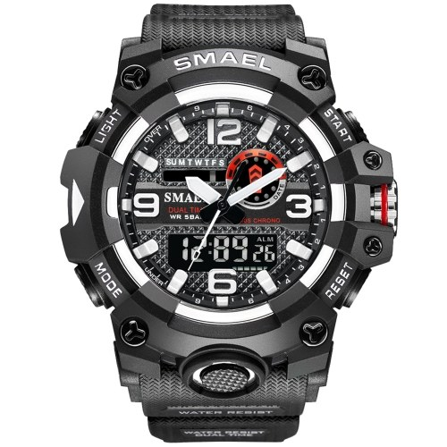 SMAEL 8035 Multifunctional Men Sport Casual Watch 50M Waterproof Electronic Digital Wristwatch with Luminous/Alarm/Stopwatch/Auto Calendar/Snooze Feature