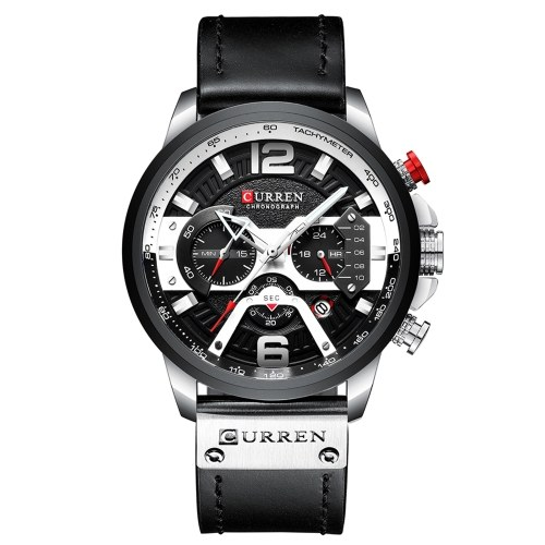 CURREN 8329 Quartz Watch Business Men Simple Sport Wristwatch Three Sub-Dials Calendar Second Minute 24 Hour Display 3ATM Waterproof Fashion Casual Male Watches Relogio Masculino