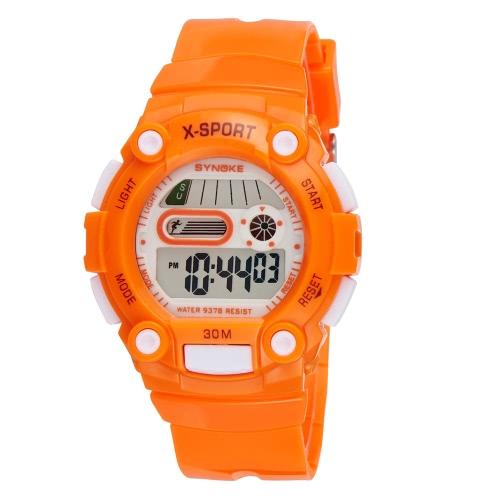 SYNOKE moda estudiante Cool reloj multifunción 3ATM vida resistente al agua niños chico chica reloj deportivo con contraluz cronógrafo alarma fecha exhibición de la semana
