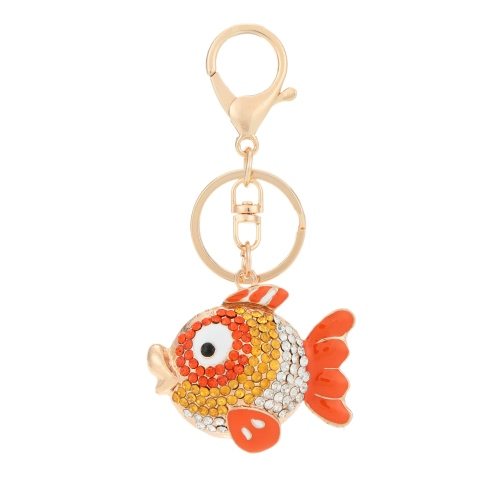 Unikatowe Flying Fish Animal Keyring Rhinestone Car Key Chain Charm Biżuteria na Biżuteria na prezent