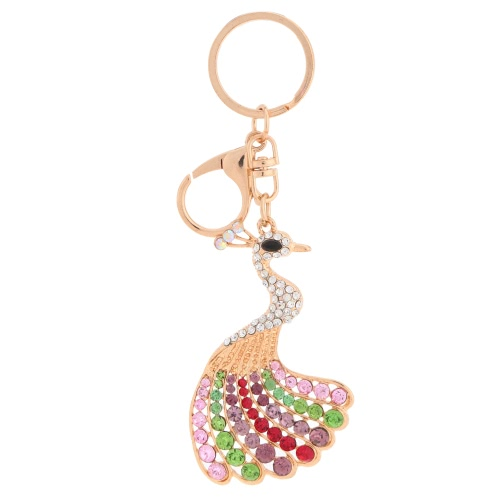 Beautiful Shining Crystal Rhinestone Peafock Peacock Pendant Key Ring Moda Kobiety Biżuteria Samochód Key Chain Torebki Torebka Charm Akcesoria Gift