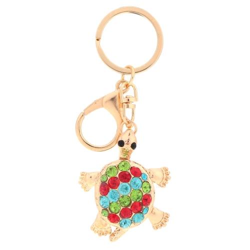 Hermosa brillante Rhinestone Linda hermosa tortuga Animal tortuga colgante llavero moda amor regalo coche llavero monedero bolso encanto accesorio de la joyería
