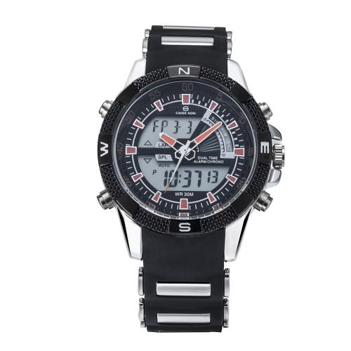ASJ Men Sport Business Sport Wojskowy Wrap Wrist Quartz Watch Dual