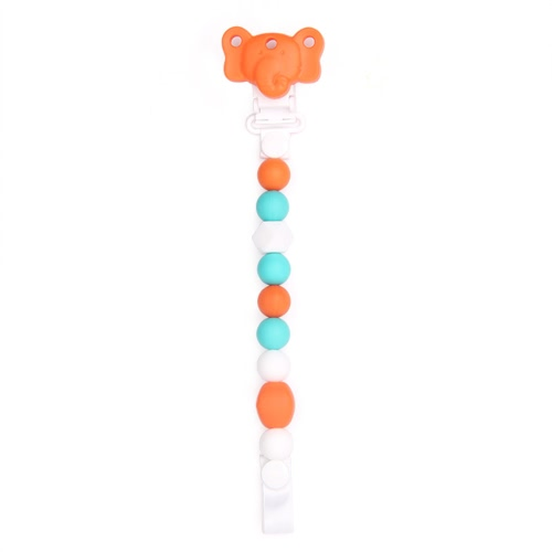 100% Food Grade Cute Colorful Silicone BPA Free Pacifier Clip Holder Chain Soft Beads for Teething Teether Chew Nursing Soothing Jewelry Toy Baby Boys Girls Toddler Gift