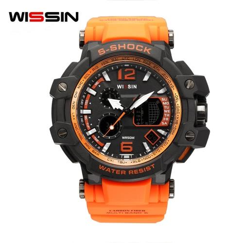 Wissin Shockproof 5ATM Wodoodporny Zegarek Sport Zegarki Zegarki kwarcowe Podświetlenie Kalendarz Relogio Musculino