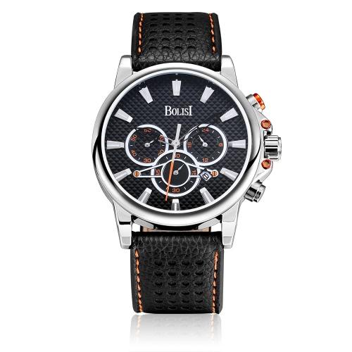 Bolisi Fashion Casual Quartz Watch 3ATM Relógios impermeáveis para homens Relógio de pulso de couro genuíno Calendário de calendário masculino