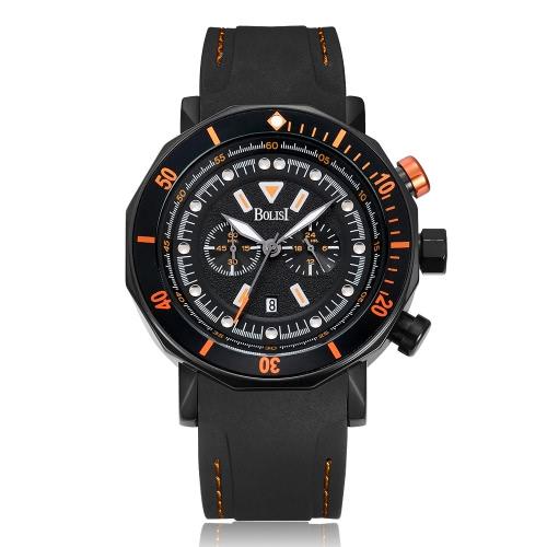 Bolisi Fashion Casual Relógio Quartz 3ATM Relógios Homens Resistente à Água Relógio Masculino Relógio Calendário