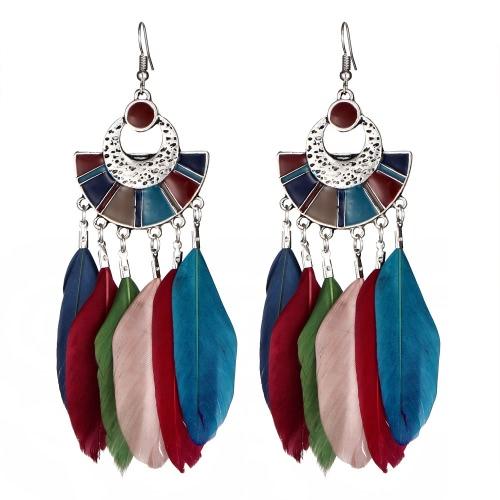 Vintage Big Long Earrings Bijoux Regalo Moda Pendiente Pluma Mujeres Bohemia Étnica Pendiente Dangle Pendientes