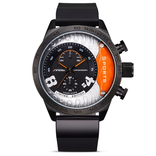 SINOBI 3ATM Water-resistant Sport Watch Quartz Watch Men Wristwatches Male Calendar Chronograph