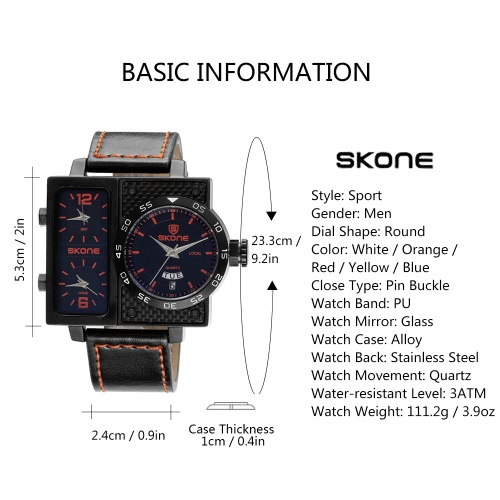 SKONE Sport Quartz Watch 3ATM Water-resistant Watch Men Wristwatches Male Calendar