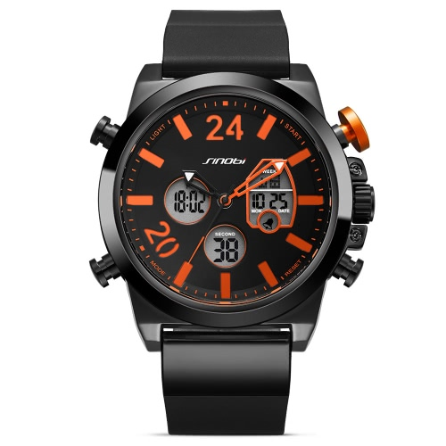 SINOBI Sport Quartz Watch 3ATM Water-resistant Men Watches Luminous Wristwatch Male Chronograph