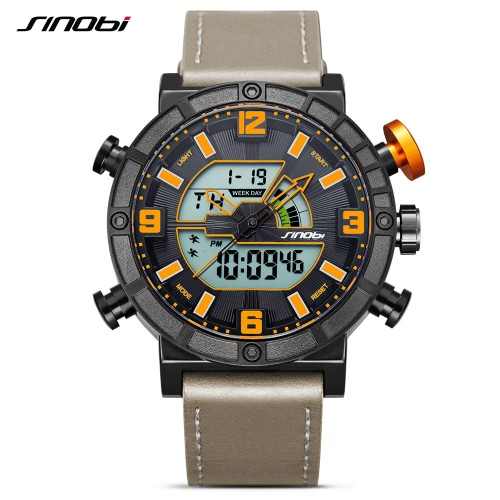 SINOBI Sport Quartz Watch 3ATM Water-resistant Men Watches Backlight Wristwatches Male Chronograph