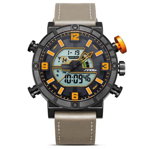 SINOBI Sport Quarzuhr 3ATM Wasserdichte Herrenuhren Hintergrundbeleuchtung Armbanduhren Herren Chronograph