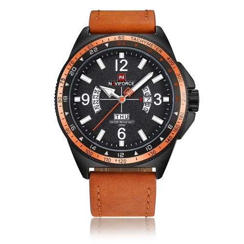 Reloj del cuarzo del deporte de NAVIFORCE 3ATM hombres resistentes al agua Relojes Reloj militar luminoso del reloj masculino del reloj