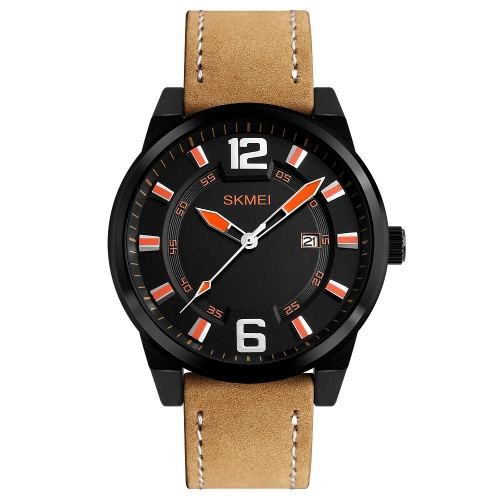 SKMEI Fashion Casual cuarzo reloj 3ATM resistente al agua reloj de los hombres reloj de pulsera de cuero genuino calendario masculino
