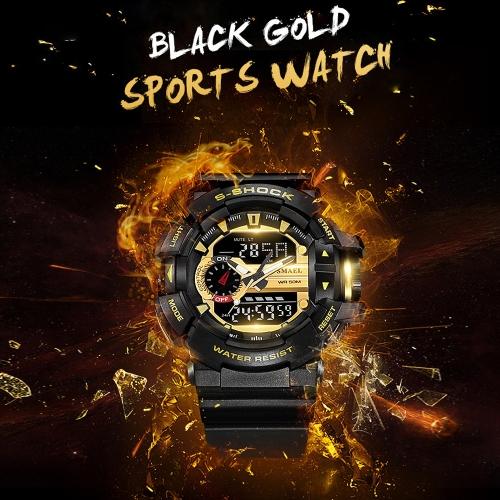 Men's Stylish Sports Multi-function Electronic Waterproof Watch Dual Display Wristwatches