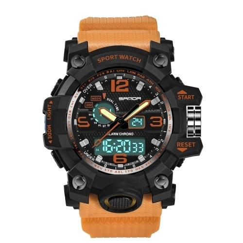 SANDA 742 Men Analog Digital Countdown Watch Fashion Casual Sports Wristwatch