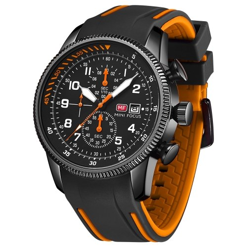 MINI FOCUS Classic Men Quartz Watch Analog Chronograph Wrist Watch with Calendar 3ATM Waterproof Luminous Pointer with Silicone Strap Box Package