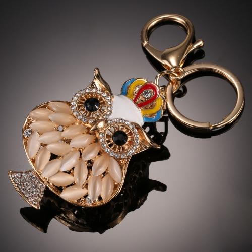 Moda jóias charme oco cadeia de brilho strass Aureate animal Coruja Pingente Anel chave para Bag Handbag Mulheres presente