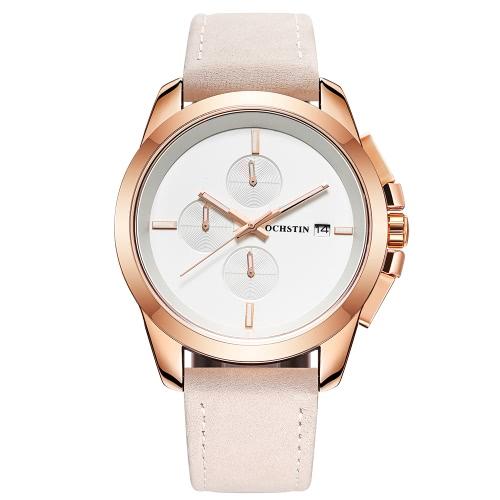 OCHSTIN Luxus leuchtende Militär Quarz Männer Armbanduhr echtes Leder wasserdicht Chronograph Casual Uhr Masculino Relogio + Box