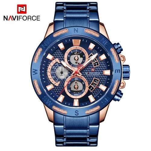Naviforce Мужские кварцевые часы Ремешок из нержавеющей стали Модные многофункциональные светящиеся наручные часы 3ATM Водонепроницаемость Дизайн C-хронограф Календарь Дата Часы для бизнеса Ежедневно Офис Ношение подарка
