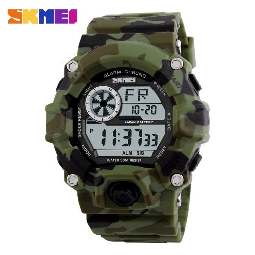 SKMEI Brand Digital LED 50M Water-Proof Men Military Sports Watches Fashion Man Electronic Outdoor Casual Wristwatch Alarm Backlight Chronograph Date Masculino Relogio