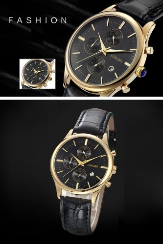 LONGBO Man Quartz Watch 3ATM Water Resistant Alloy Wristwatch with Calendar