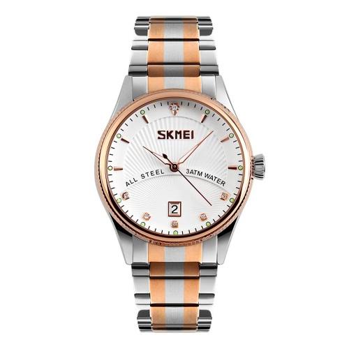Muñeca resistente SKMEI Rhinestone Embedded análogo de los hombres de negocios profesional del reloj de agua 3ATM Reloj con ventana de fecha