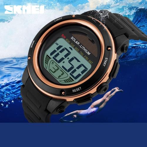 Deportes de las mujeres de los hombres Digital accionado Solar de SKMEI reloj Dial grande 5ATM resistente al agua multifunción Unisex reloj de pulsera con cronógrafo alarma luz de fondo
