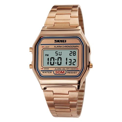 SKMEI Cool Digital homens mulheres Bussiness relógio de pulso Vintage casal luminosa relógio 3ATM Water-resistant multi função Unisex esportes relógio de luxo