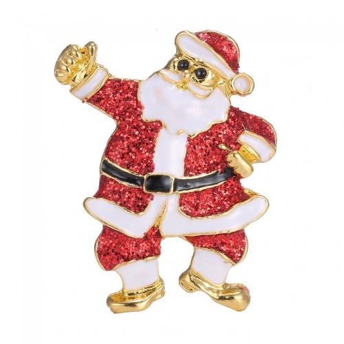 Śliczne Boże Narodzenie Święty Mikołaj Broszka Szalik Klamrowy Pierścień Klip Pin Holiday Gift