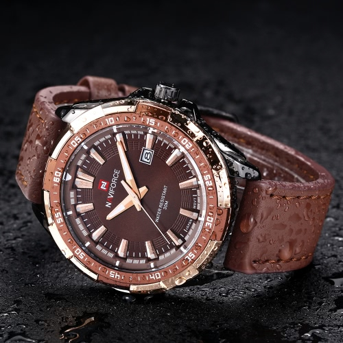 Esportes estilo relógio de quartzo NAVIFORCE luxo marca moda Casual homens de pulso luminoso Water-resistant masculino com Auto data