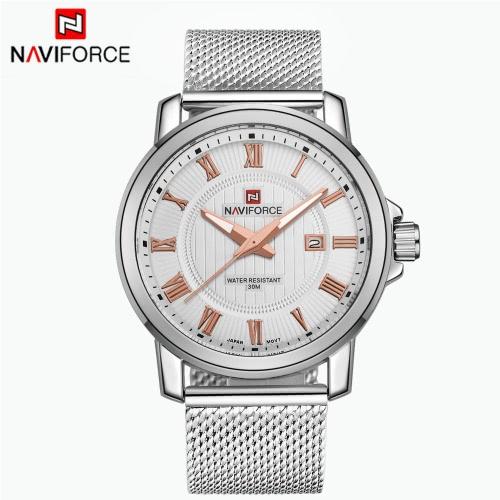 NAVIFORCE Casual Men Wodoodporny zegarek kwarcowy zegarek męska ze stali nierdzewnej Pasek z kalendarzem Wskaźniki świetlny