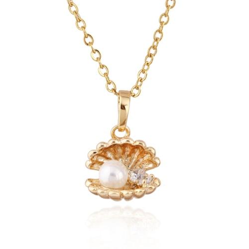 Frauen-Mädchen-Art und Weise Gold überzogenes Zircon Rhinestone-Kristall Shell Anhänger Halsketteclavicle Kette Schmuck für Partei-Hochzeit Geschenk