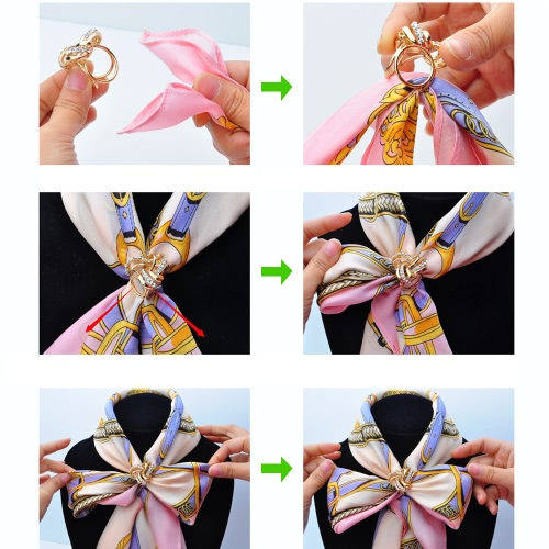 Fashion Zink Metallic Blumen-Schal-Schal Schnalle Clip Ring Brosche Schmuck Accessoires für Frauen-Geschenk