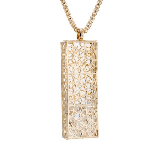 Metal Moda Retro Vintage original colar banhado a ouro de cobre com Long Hallow pingente camisola cadeia de jóias Vestido para Mulheres Meninas do presente