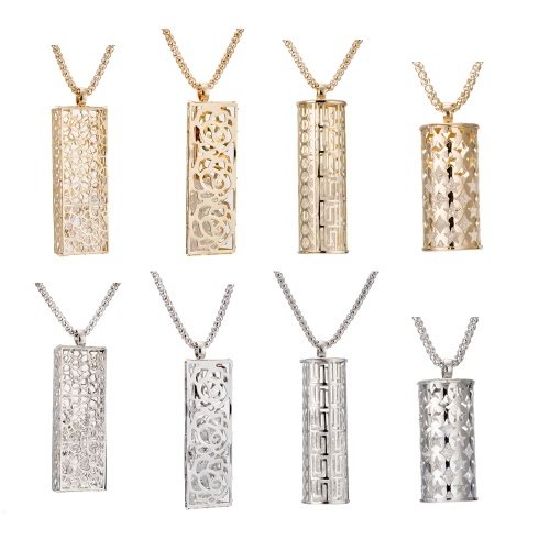 Fashion Unique Vintage Retro Metal Copper Gold Plated Necklace with Long Hollow Pendant Jewelry Sweater Dress Chain for Women Girls Gift