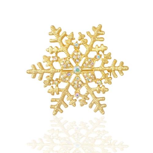 Neue Art und Weise glänzende Strass Kristallschneeflocke Brosche Kragen Clip Pin Kleidung Zubehör Schal Schnalle Nizza Urlaub für Frauen-Dame-Hochzeitsfest-Geschenk