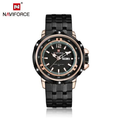 NAVIFORCE 2016 30M moda de luxo resistente à água Quartz Homem de Aço Inoxidável Assista Casual Relógio do negócio para homens analógico relógio de pulso com caixa de armazenamento