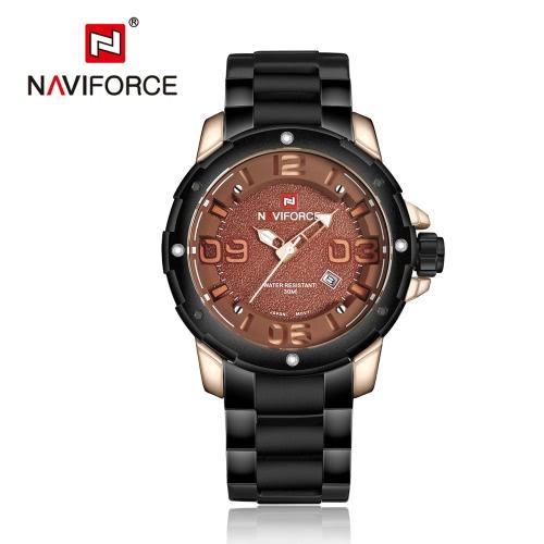 NAVIFORCE 2016 del acero inoxidable de la nueva manera de cuarzo reloj de los hombres 30M Daily resistente al agua reloj de pulsera de hombre informal W / Calendario y Box